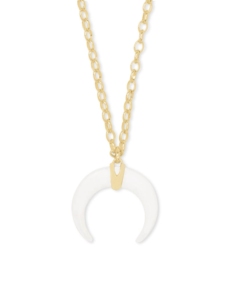 Rebecca Gold Large Long Pendant Necklace in White Mussel   Kendra Scott