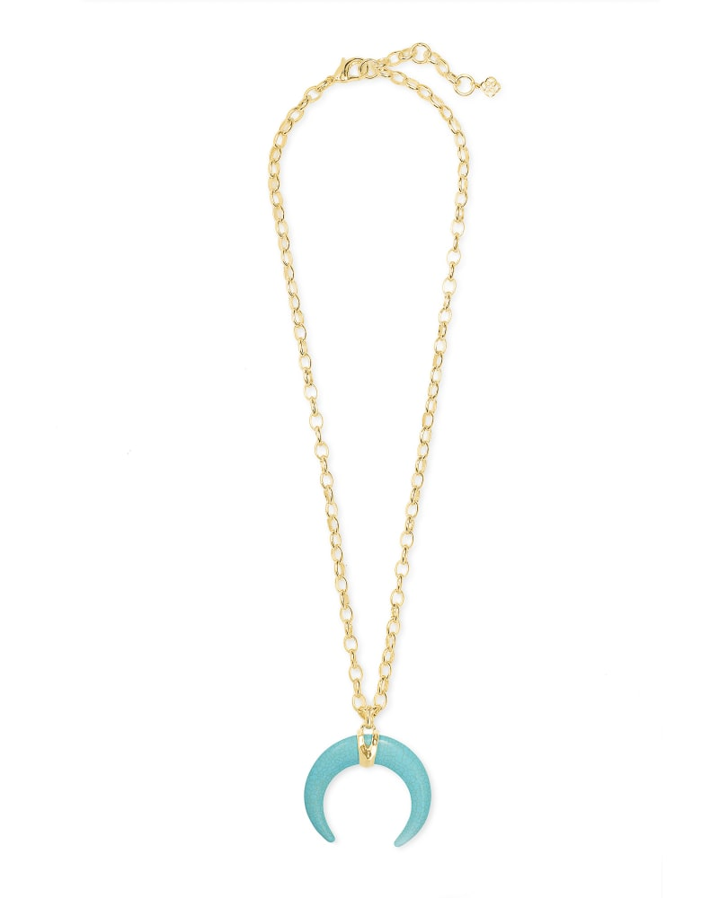 Rebecca Gold Large Long Pendant Necklace in Variegated Turquoise Magnesite