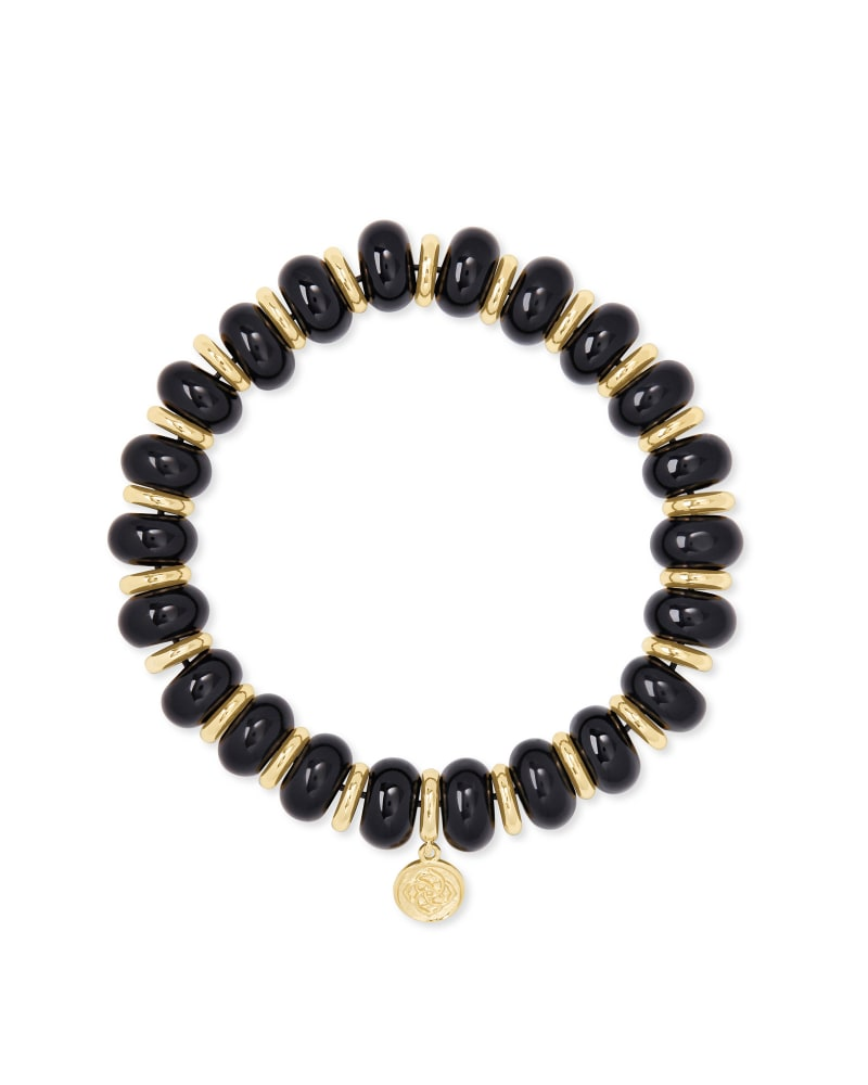 Rebecca Gold Stretch Bracelet in Black Agate