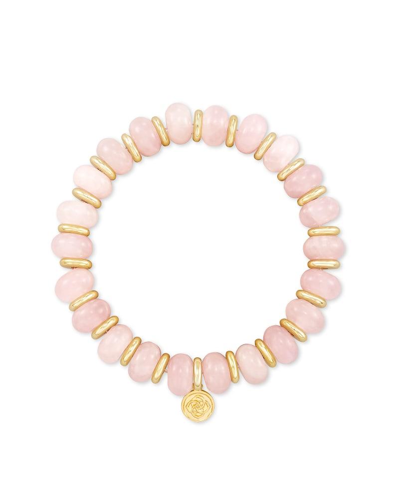 Rebecca Gold Stretch Bracelet in Rose Quartz