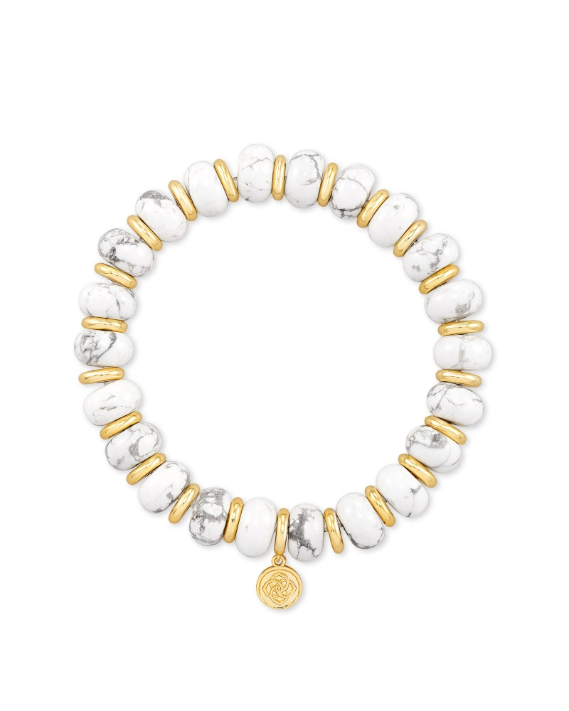 Rebecca Gold Stretch Bracelet in White Howlite
