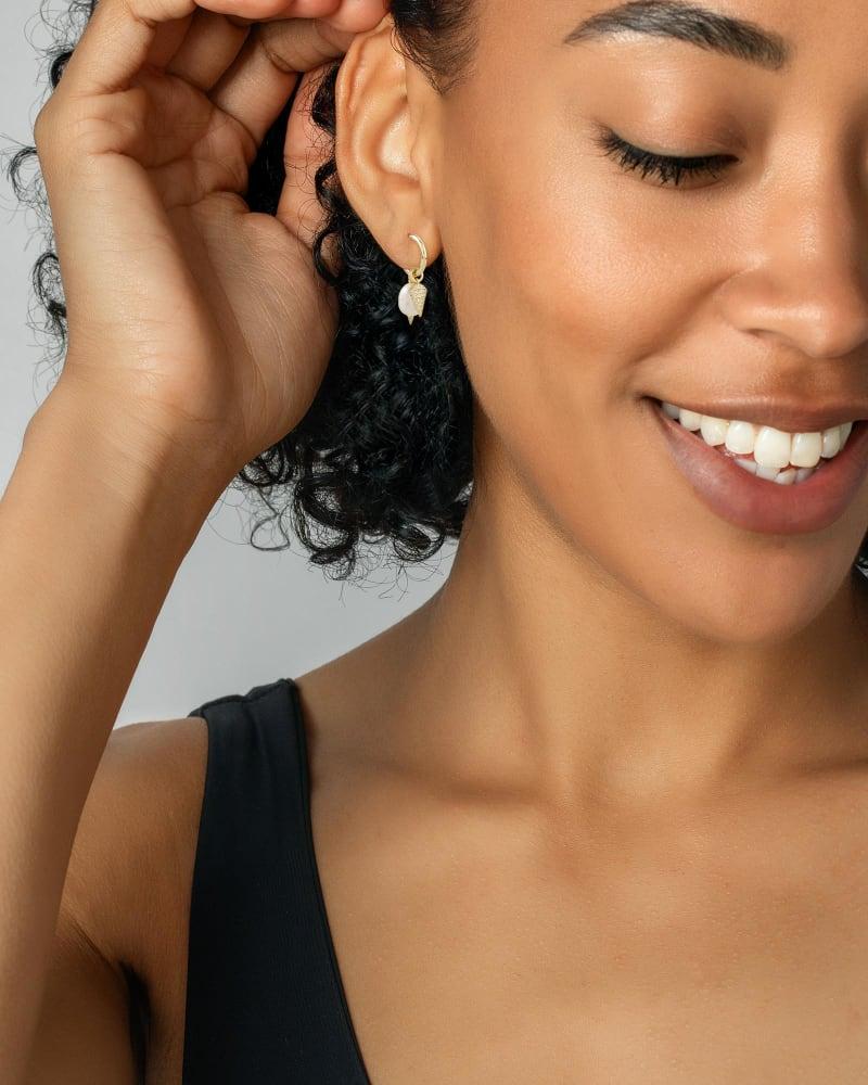 Demi Gold Huggie Earrings Set In White Baroque Pearl