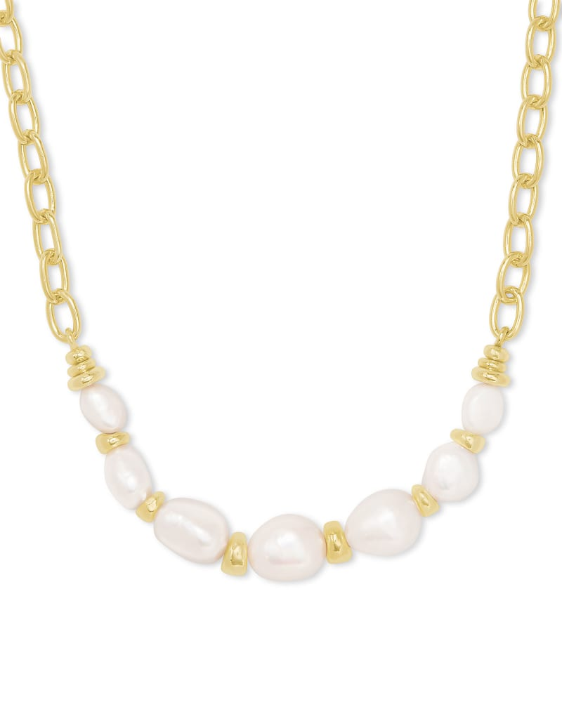 Demi Gold Chain Necklace In White Baroque Pearl