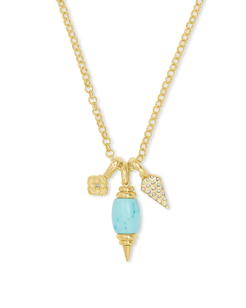 Demi Gold Charm Necklace In Light Blue Magnesite