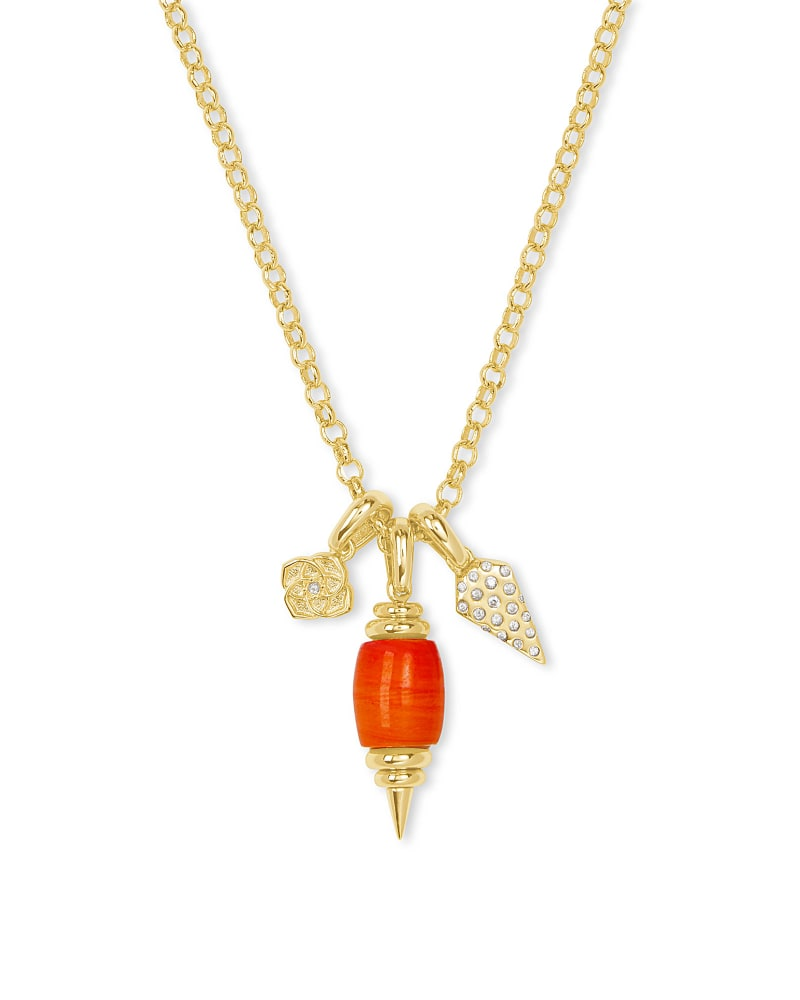 Demi Gold Charm Necklace In Papaya Mother Of Pearl