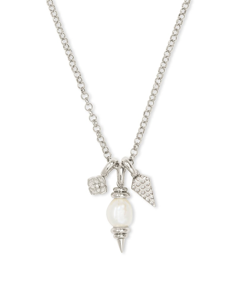 Demi Silver Charm Necklace In White Baroque Pearl