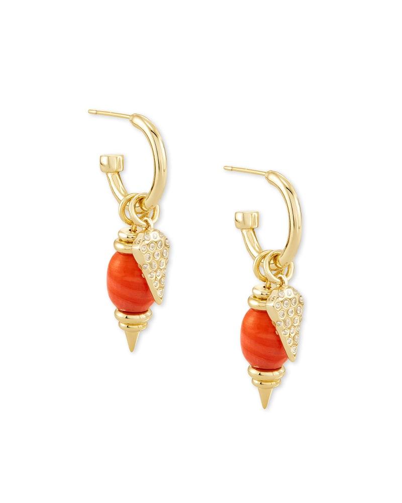 Demi Gold Huggie Earrings Set In Papaya Mother Of Pearl
