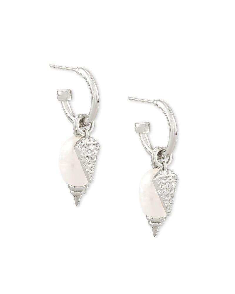 Demi Silver Huggie Earrings Set In White Baroque Pearl