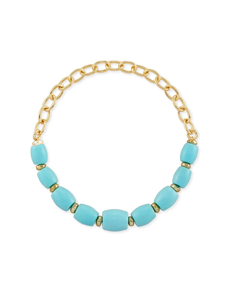 Demi Gold Stretch Bracelet In Light Blue Magnesite