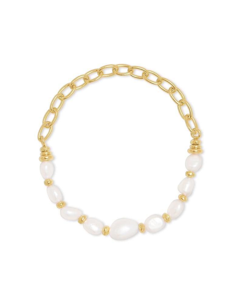 Demi Gold Stretch Bracelet In White Baroque Pearl