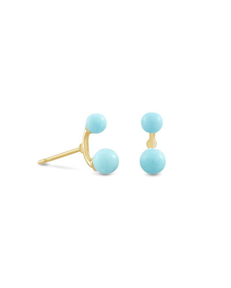 Demi Gold Stud Earrings In Light Blue Magnesite