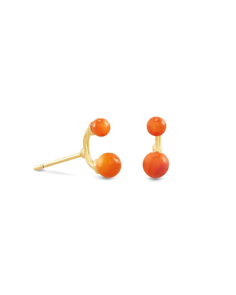 Demi Gold Stud Earrings In Papaya Mother Of Pearl