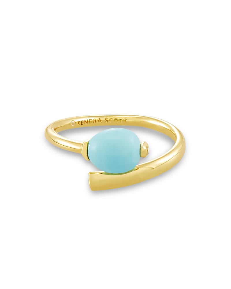 Demi Gold Wrap Ring In Light Blue Magnesite