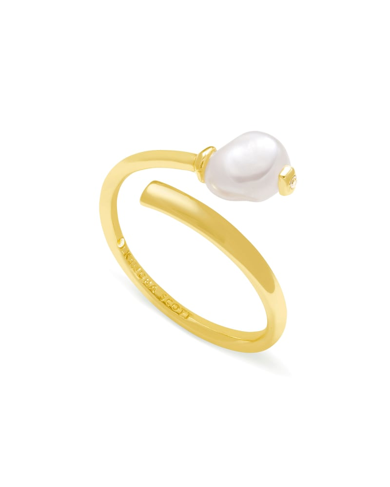 Demi Gold Wrap Ring In White Baroque Pearl