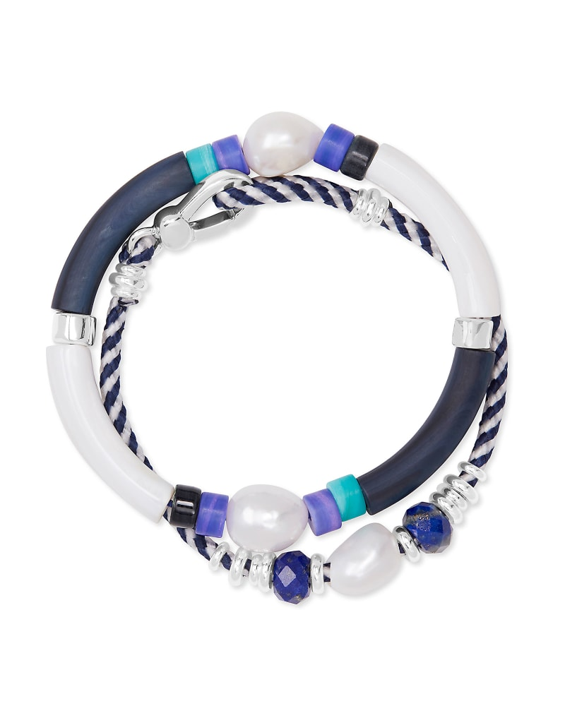 Rachel Bright Silver Friendship Bracelet In Black Mix