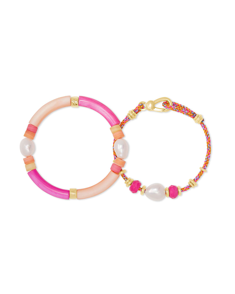 Rachel Gold Friendship Bracelet In Pink Mix