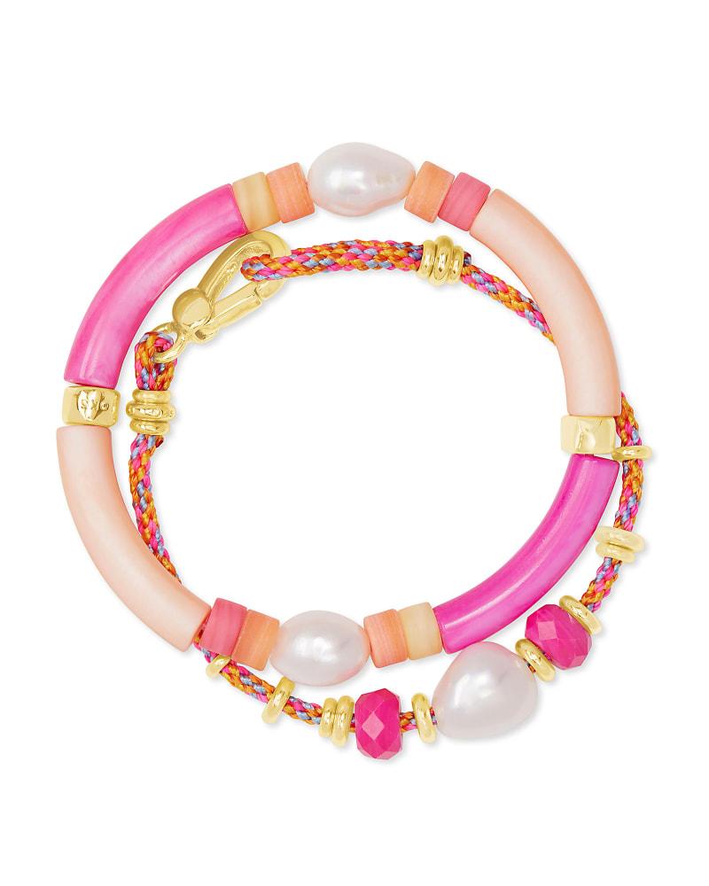 Rachel Gold Friendship Bracelet In Pink Mix
