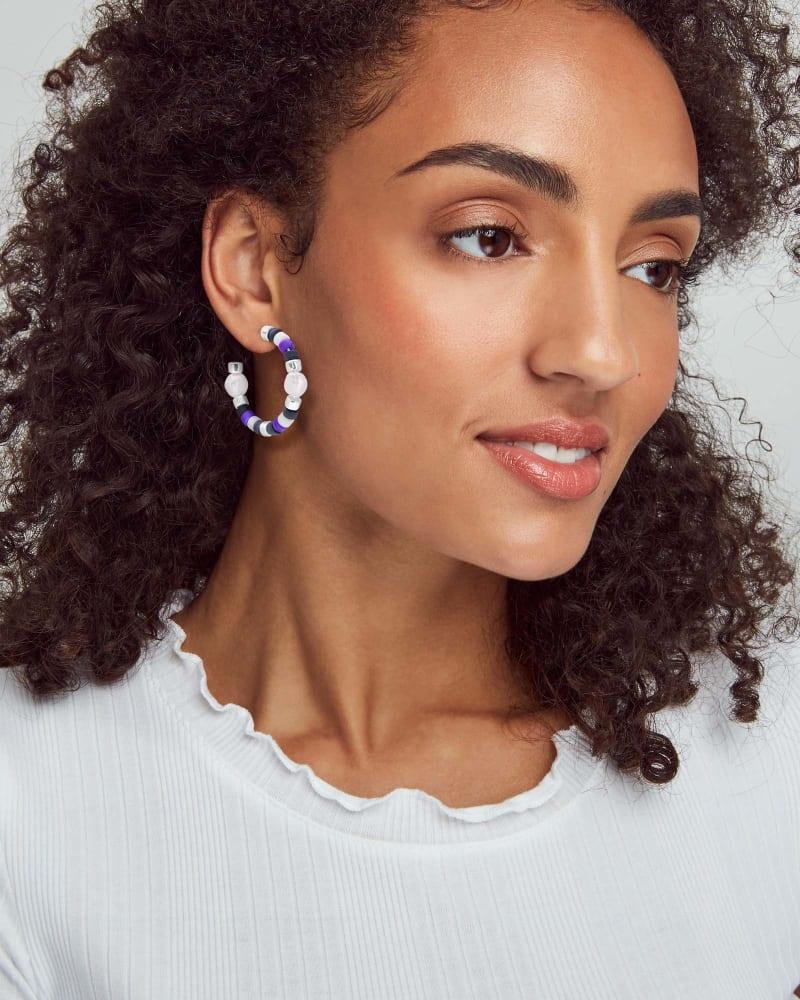 Rachel Bright Silver Hoop Earrings In Black Mix