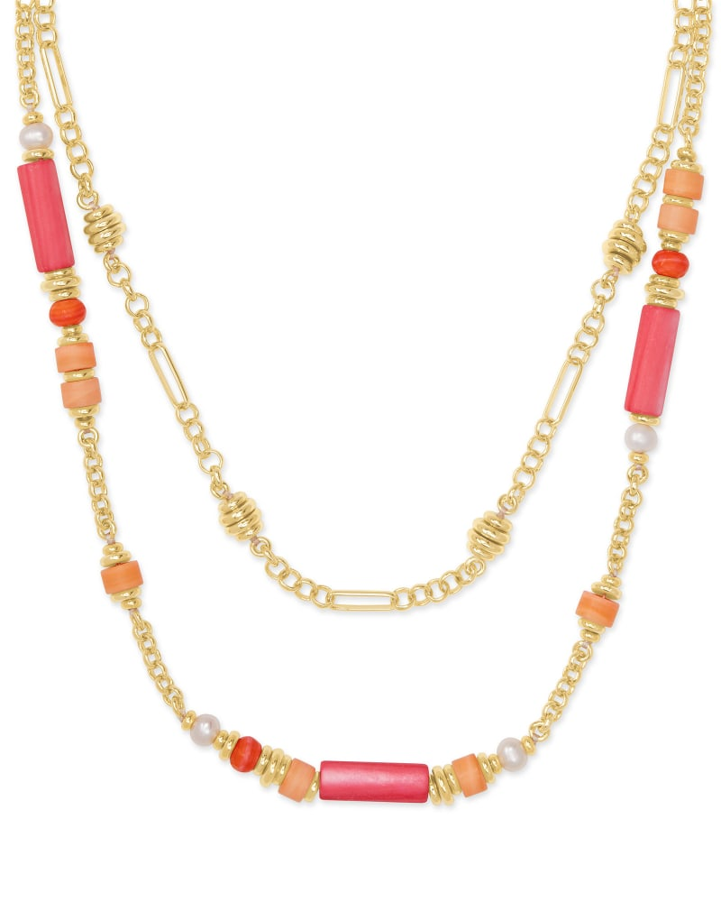 Rachel Gold Multi Strand Necklace In Pink Mix