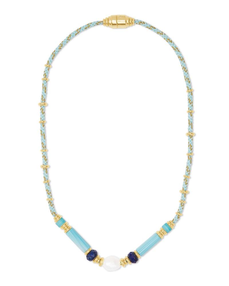 Rachel Gold Choker Necklace In Blue Mix