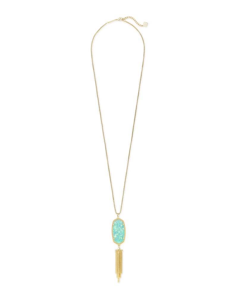 Rayne Gold Large Long Pendant Necklace In Iridescent Mint Illusion