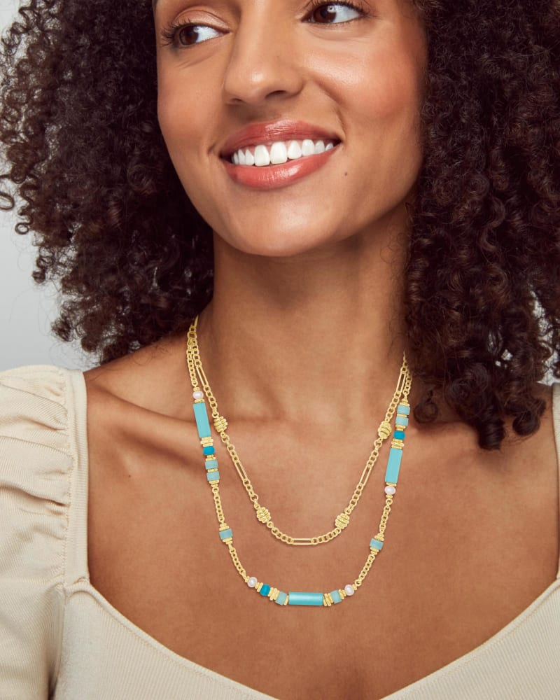 Rachel Gold Multi Strand Necklace In Blue Mix