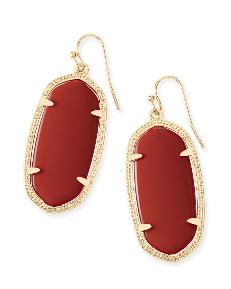Elle Gold Drop Earrings In Dark Red