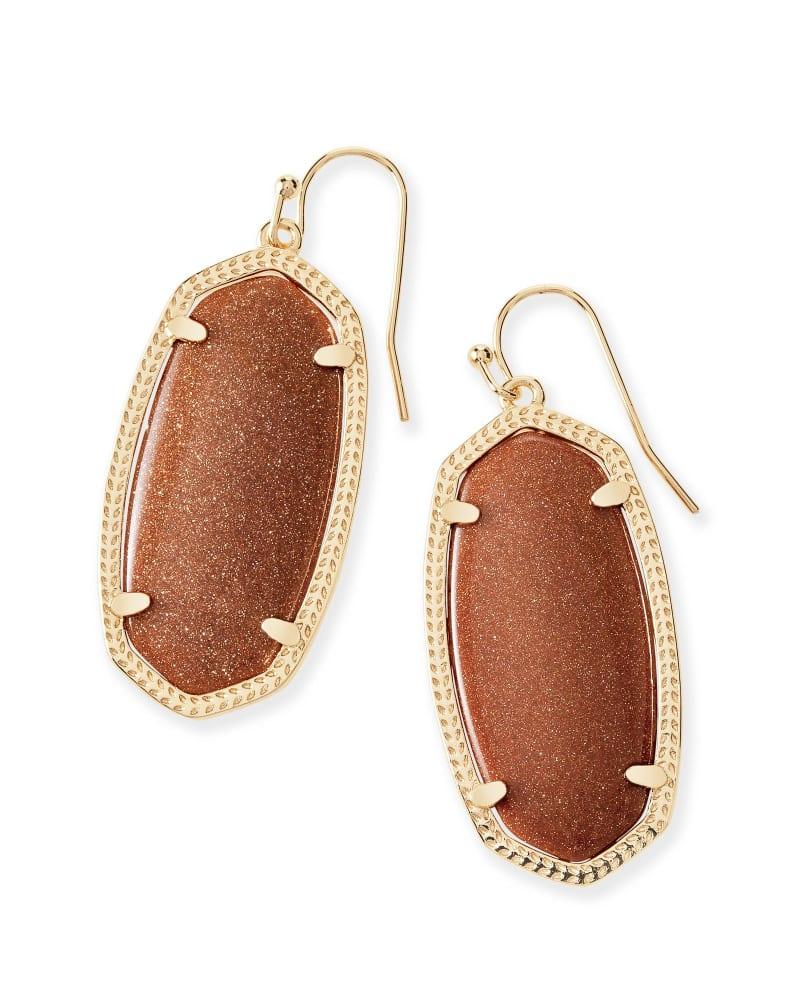 Elle Gold Drop Earrings in Goldstone Glass