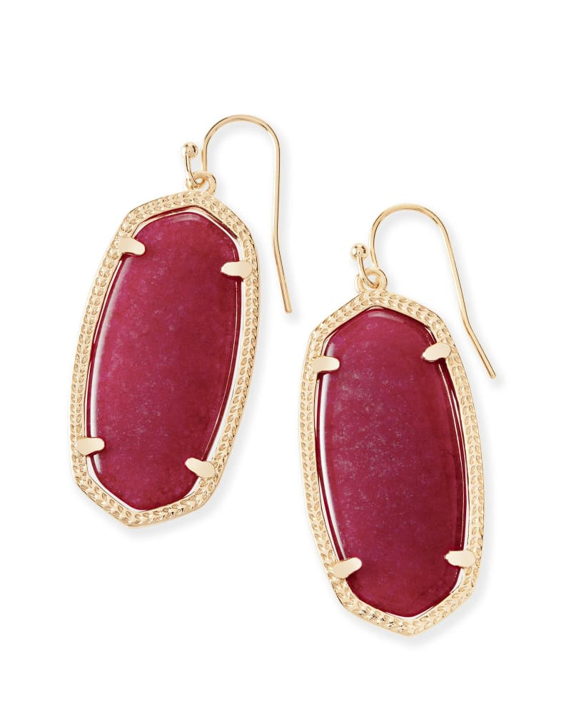 Elle Gold Drop Earrings in Maroon Jade