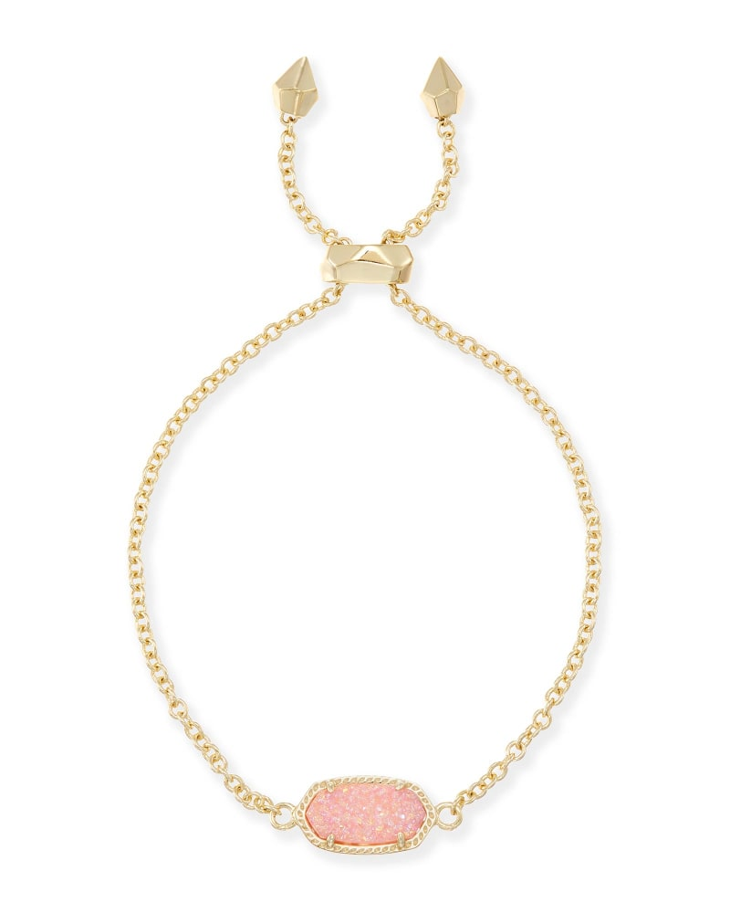 Elaina Adjustable Chain Bracelet in Light Pink Drusy