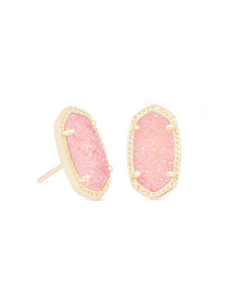 Ellie Gold Stud Earrings in Light Pink Drusy