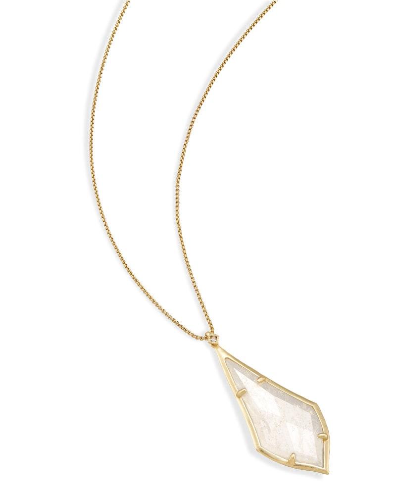 Damon Long Pendant Necklace in Rock Crystal