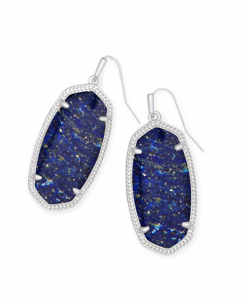 Elle Bright Silver Drop Earrings in Blue Lapis
