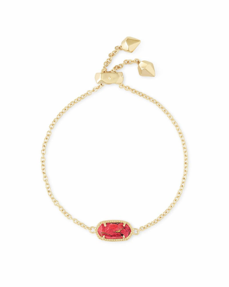 Elaina Gold Adjustable Chain Bracelet in Bronze Veined Red Magnesite
