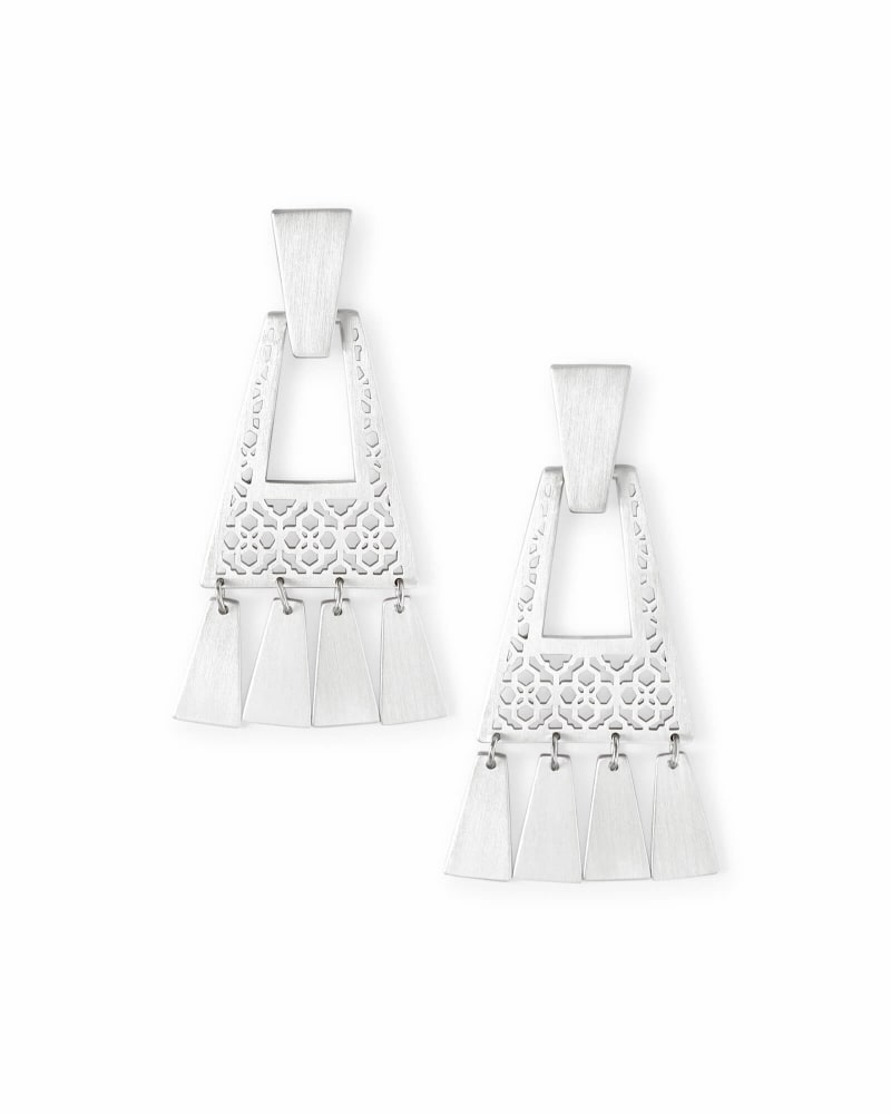 Kase Bright Silver Fringe Earrings in Bright Silver Filigree