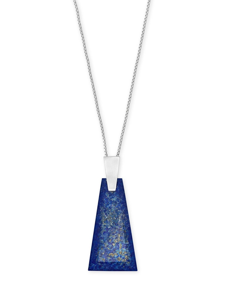 Collins Bright Silver Long Pendant Necklace in Blue Lapis