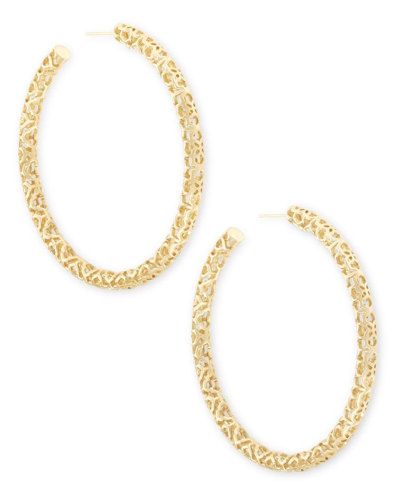 Maggie Hoop Earrings in Gold Filigree   Kendra Scott