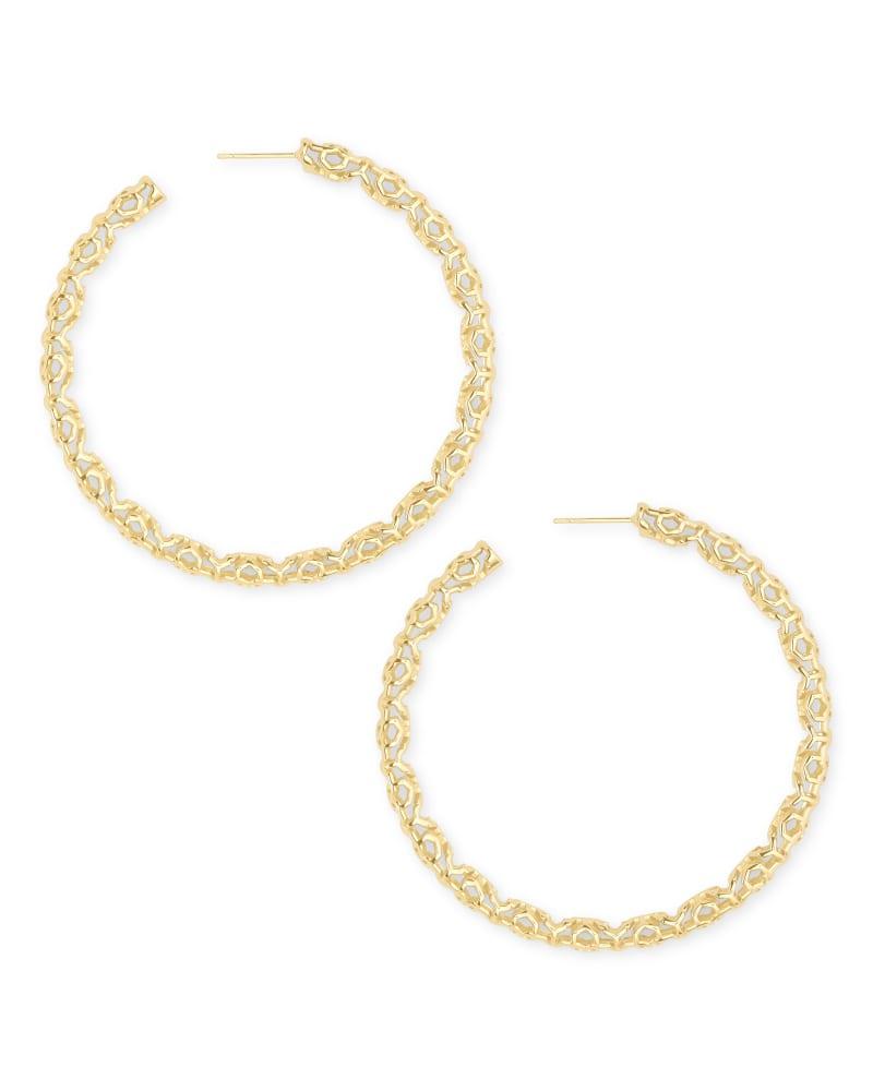 Maggie Hoop Earrings in Gold Filigree