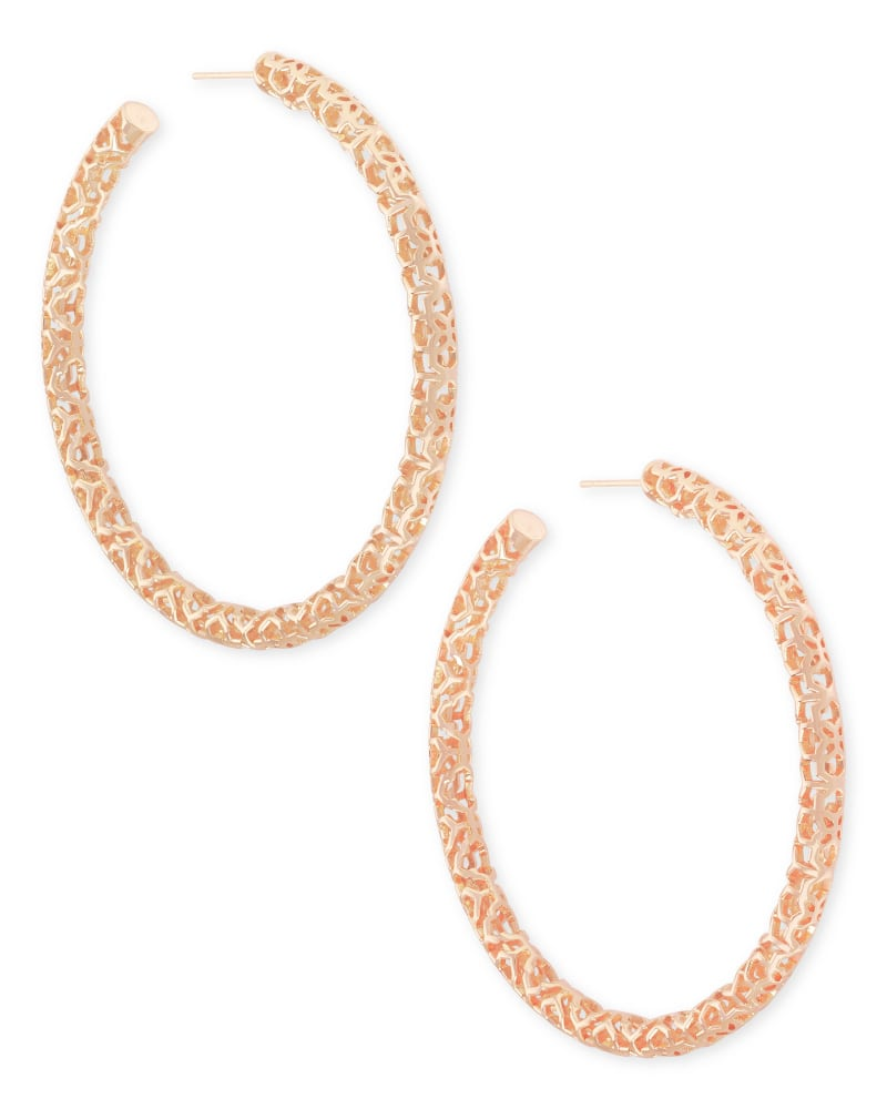 Maggie Hoop Earrings in Rose Gold Filigree