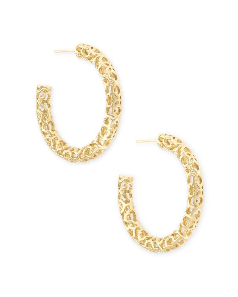 Maggie Small Hoop Earrings in Gold Filigree   Kendra Scott