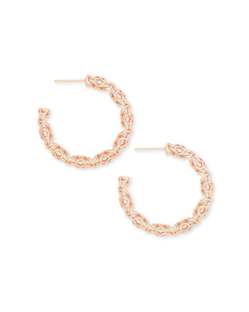 Maggie Small Hoop Earrings in Rose Gold Filigree