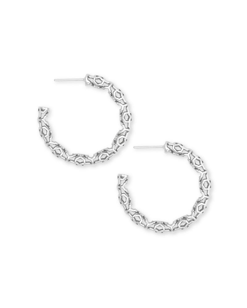Maggie Small Hoop Earrings in Silver Filigree