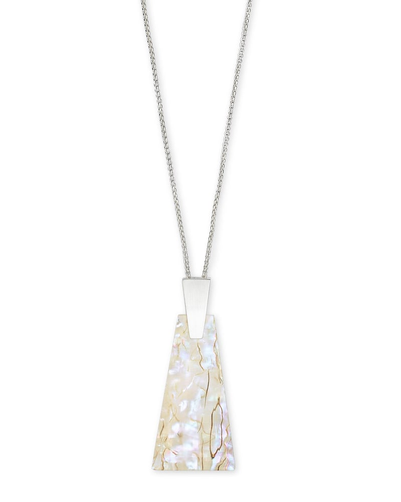 Collins Bright Silver Long Pendant Necklace in White Abalone