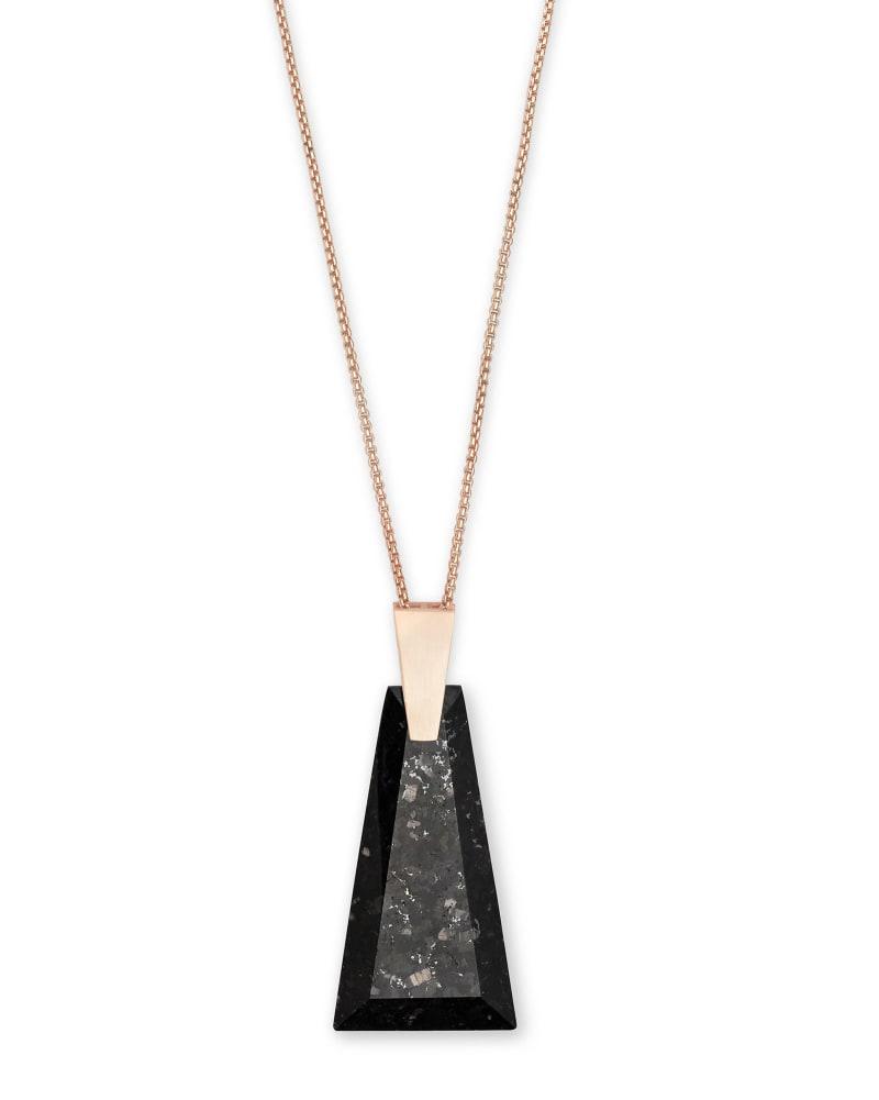 Collins Rose Gold Long Pendant Necklace in Black Granite