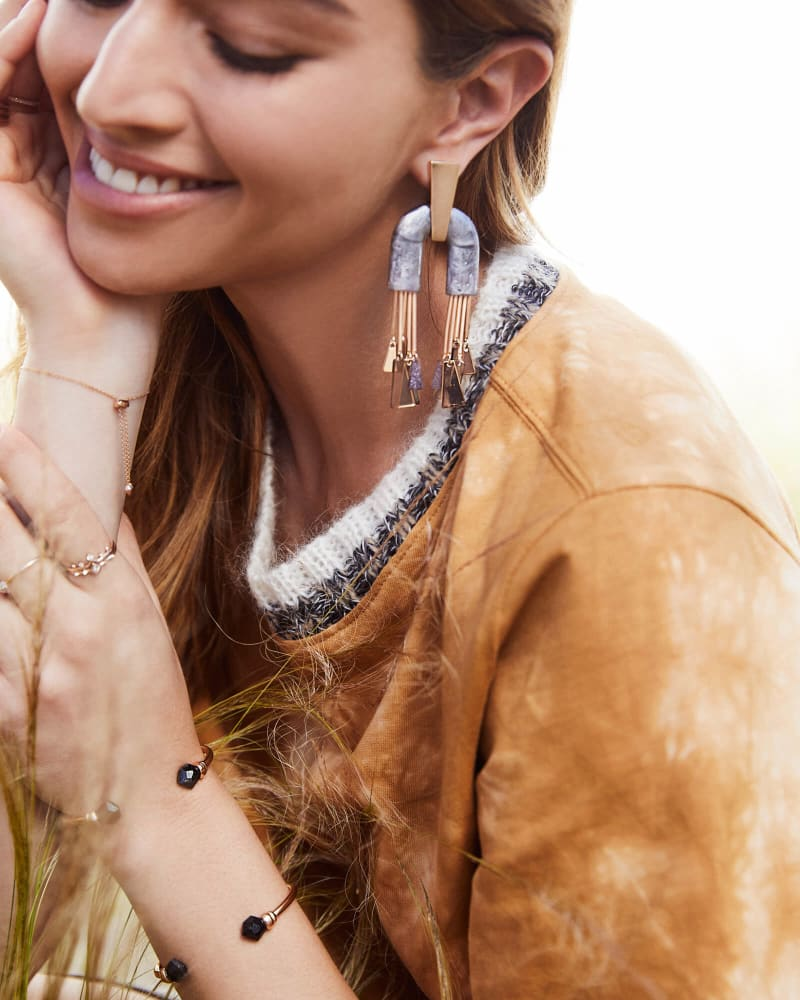 Conner Rose Gold Statement Earrings in Black Mix