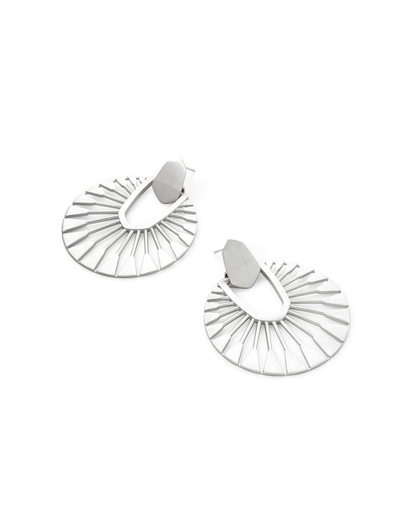 Didi Sunburst Statement Earrings in Bright Silver