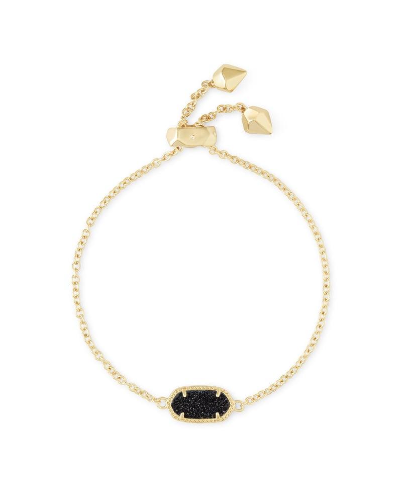 Elaina Gold Adjustable Chain Bracelet in Black Drusy