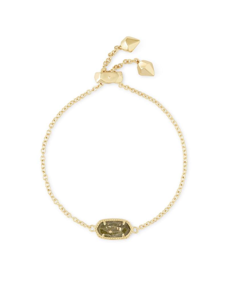 Elaina Adjustable Chain Bracelet in Olive Epidote