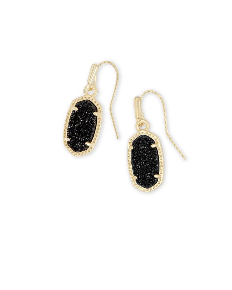 Lee Gold Drop Earrings in Black Drusy