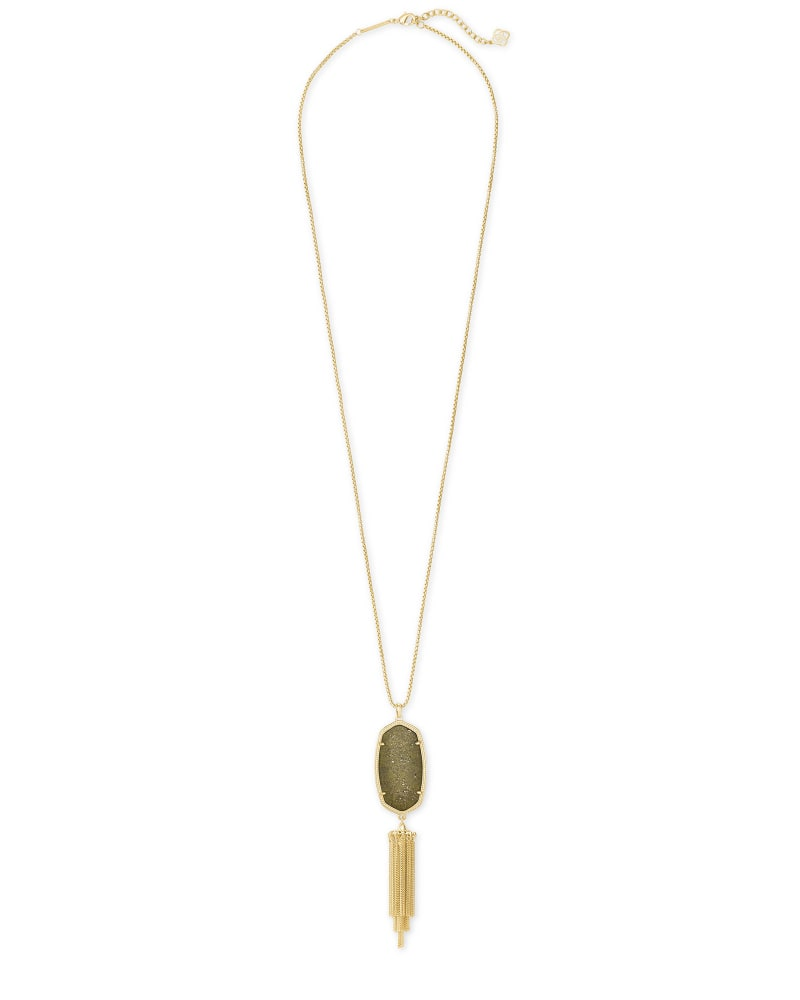 Rayne Gold Long Pendant Necklace in Olive Epidote